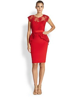 Notte by Marchesa - Silk Lace Peplum Dress