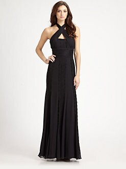 ML Monique Lhuillier - Lace-Trimmed Silk Chiffon Gown
