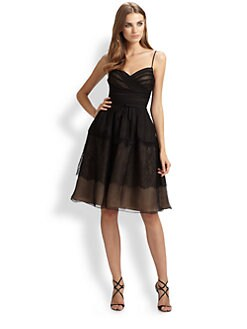ML Monique Lhuillier - Lace-Trimmed Organza Dress