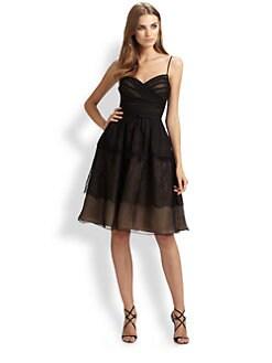 ML Monique Lhuillier - Lace-Trimmed Organza Dress