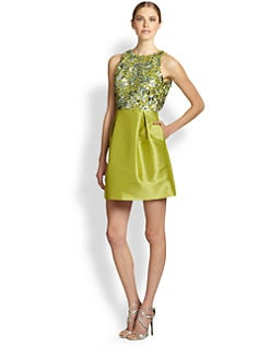 ML Monique Lhuillier - Sequined Faille Racerback Dress