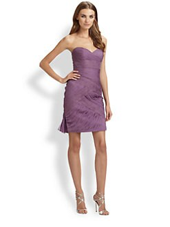 ML Monique Lhuillier - Silk Chiffon & Lace Strapless Cocktail Dress