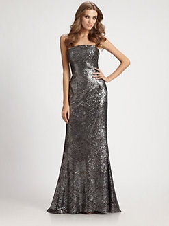 ML Monique Lhuillier - Strapless Sequined Gown