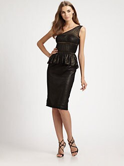 ML Monique Lhuillier - One-Shoulder Peplum Dress