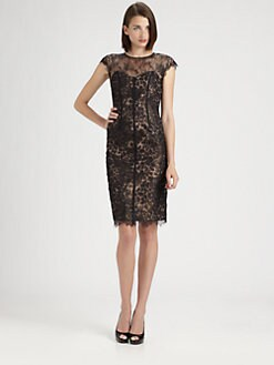 ML Monique Lhuillier - Lace Overlay Dress