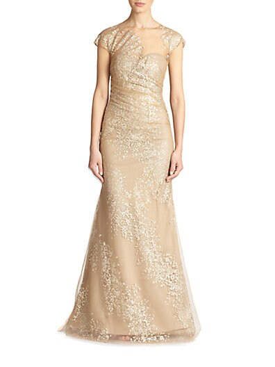 Sequined Organza Gown