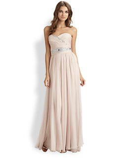Notte by Marchesa - Strapless Silk Chiffon Gown
