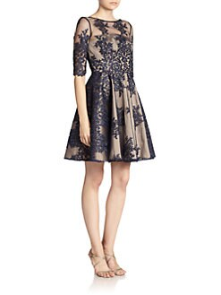 ML Monique Lhuillier - Embroidered-Lace Tulle Dress