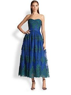 ML Monique Lhuillier - Floral Tulle Gown