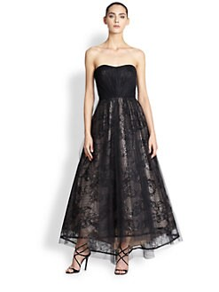 ML Monique Lhuillier - Embellished, Layered Strapless Gown