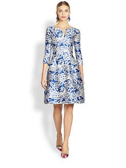 Oscar de la Renta - Filigree Lace Print Dress