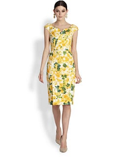 Oscar de la Renta - Azalea-Print Stretch Cotton Pencil Dress