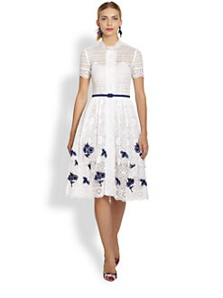 Oscar de la Renta - Lace Floral Embroidery Dress