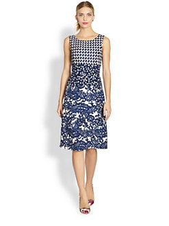 Oscar de la Renta - Mixed Media Melange Pencil Dress