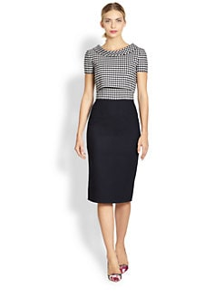 Oscar de la Renta - Checked Bodice Pencil Dress