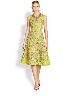 Oscar de la Renta - Silk Floral Embroidery Dress