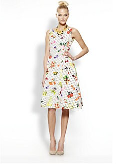 Oscar de la Renta - Silk Botanical Dot Print Dress