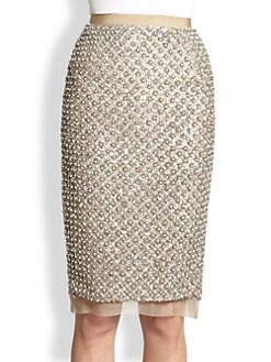 Oscar de la Renta - Beaded Silk Skirt