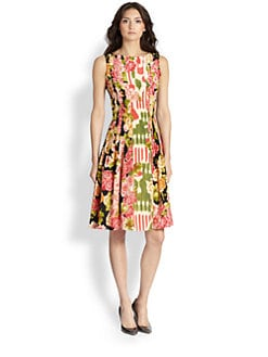 Oscar de la Renta - Floral Silk Day Dress