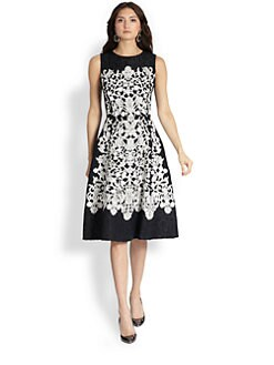Oscar de la Renta - Lace Embroidered Day Dress