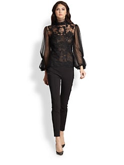 Oscar de la Renta - Long-Sleeve Lace Blouse