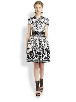 Oscar de la Renta - Printed Poplin Dress