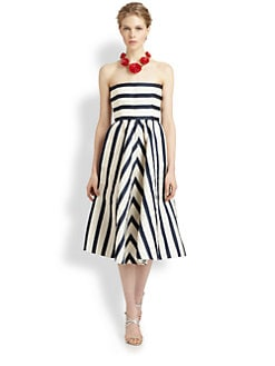 Oscar de la Renta - Strapless Silk Dress