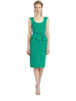 Oscar de la Renta - Silk Peplum Dress