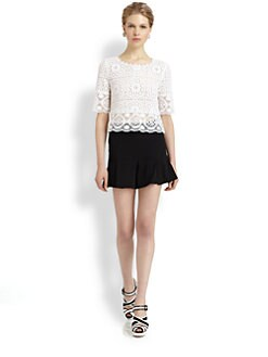 Oscar de la Renta - Short-Sleeve Lace Top