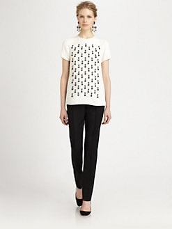 Oscar de la Renta - Beaded Silk Top