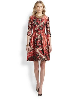 Oscar de la Renta - Cinnabar Silk & Wool Belted Printed Dress