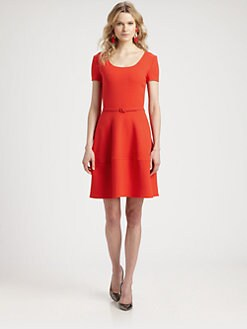 Oscar de la Renta - Cinnabar Belted Wool Dress