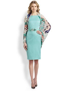 Oscar de la Renta - Stretch Cotton & Silk Textured Sheath Dress