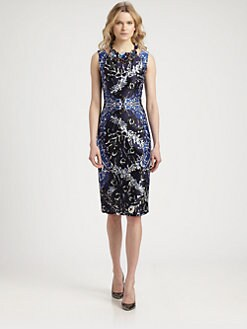 Oscar de la Renta - Silk & Wool Printed Dress