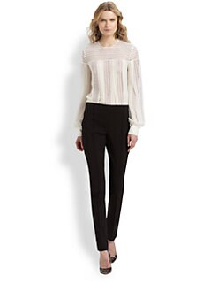 Oscar de la Renta - Woven-Paneled Blouse