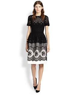 Oscar de la Renta - Bauble Trim Peplum Top