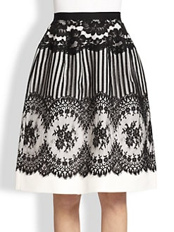Oscar de la Renta - Lace & Silk Faille Skirt