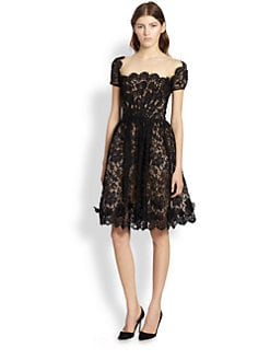Oscar de la Renta - Scalloped Silk Dress