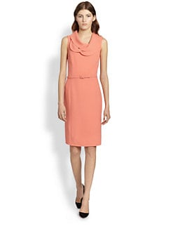 Oscar de la Renta - Belted Petal-Collar Dress