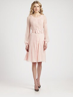 Oscar de la Renta - Silk Pintucked Dress