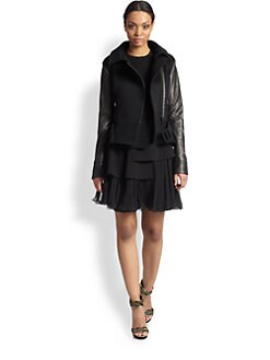 Oscar de la Renta - Leather-Sleeve Moto Jacket