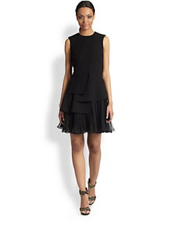 Oscar de la Renta - Layered Flutter-Hem Dress