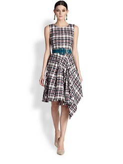 Oscar de la Renta - Asymmetrical Flamingo Plaid Tweed Dress