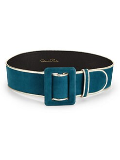 Oscar de la Renta - Leather-Trimmed Suede Belt