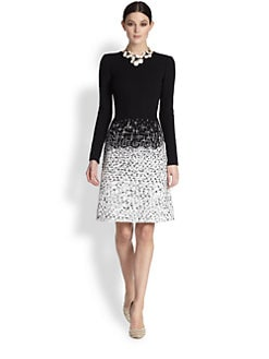 Oscar de la Renta - Embroidered Crepe & Tweed Dress