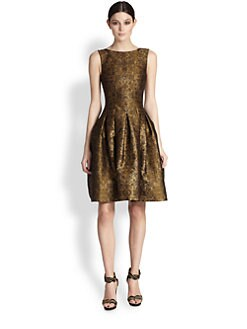 Oscar de la Renta - Pleated Lame Jacquard Dress