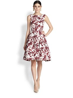 Oscar de la Renta - Leaf Print Cloqué Dress