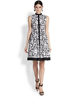Oscar de la Renta - Lace-Print Poplin Dress