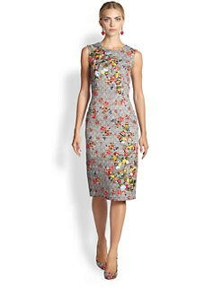 Oscar de la Renta - Floral & Plaid Pencil Dress
