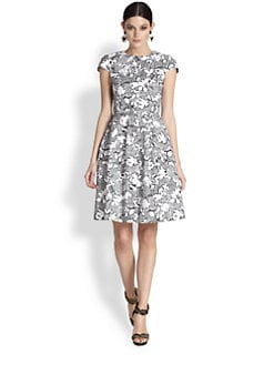 Oscar de la Renta - Plaid & Floral Cap-Sleeve Dress